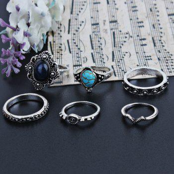 Faux Turquoise Gemstone Oval Finger Ring Set -  SILVER