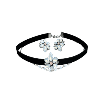 Flower Choker Necklace and Earring Set