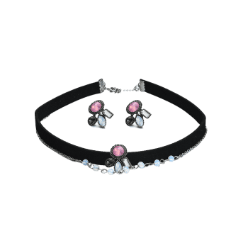 Faux Gem Choker Necklace and Earring Set