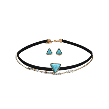 Faux Turquoise Choker Necklace and Earring Set