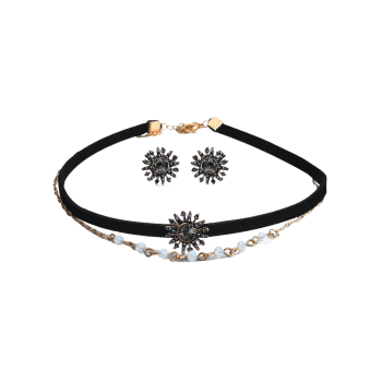 Rhinestone Sun Choker Necklace and Earring Set