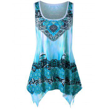 Plus Size Graphic Handkerchief Tunic Top