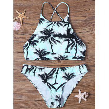 High Neck Tropical Print Bathing Suit
