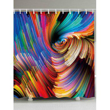 Waterproof Colorful Vortex Print Shower Curtain