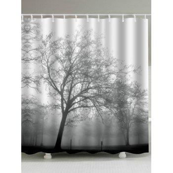 Tree Print Fabric Water Resistant Shower Curtain