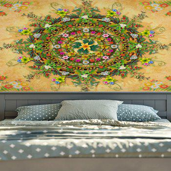 Decorative Wall Hanging Floral Print Tapestry - YELLOW YELLOW