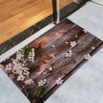 Plank Floral Soft Coral Fleece Bathroom Rug