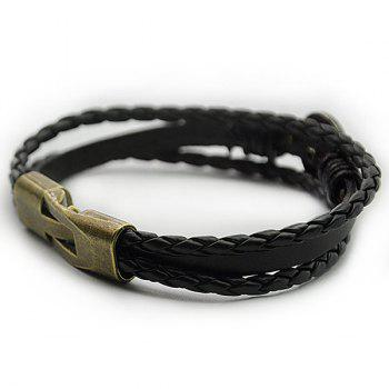 Braid Tiger Patterned Faux Leather Bracelet - BLACK