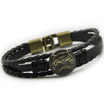 Braid Tiger Patterned Faux Leather Bracelet