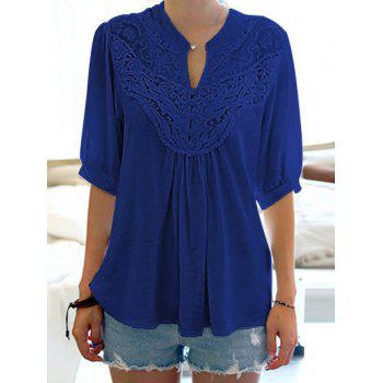 Half Sleeve Lace Splicing Blouse - SAPPHIRE BLUE ONE SIZE