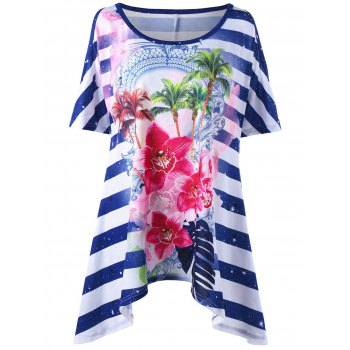 Striped Floral Asymmetric Plus Size T-Shirt