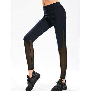 Sheer Mesh Panel Gym Leggings - PURPLISH BLUE S