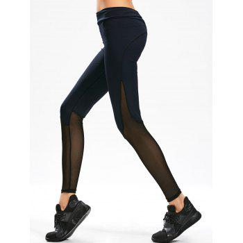Sheer Mesh Panel Gym Leggings - PURPLISH BLUE M