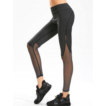 Sheer Mesh Panel Gym Leggings - BLACK GREY S