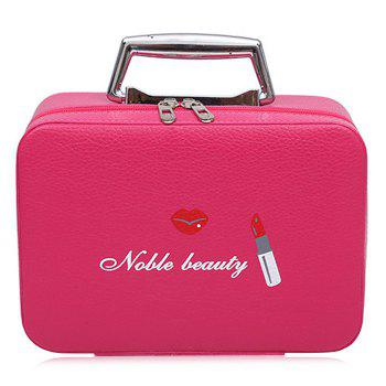 Top Handle PU Leather Makeup Box - ROSE RED ROSE RED
