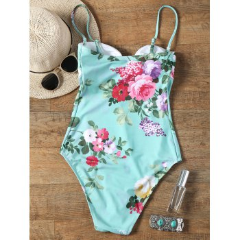 Keyhole Floral One Piece Swimsuit - FRESH 2XL
