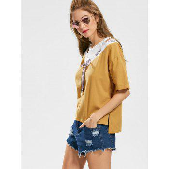 Bowknot Cut Out Two Tone Top - Jaune Foncé L