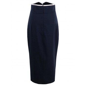 High Waist Tight Work Skirt, PURPLISH BLUE, S in Skirts ...
