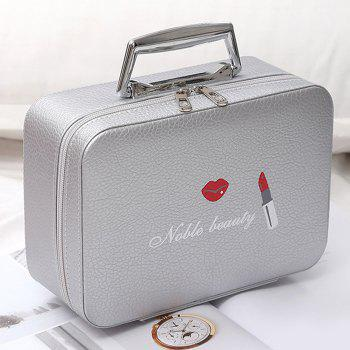 Top Handle PU Leather Makeup Box -  GRAY