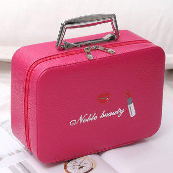 Top Handle PU Leather Makeup Box - ROSE RED