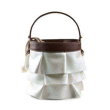 PU Leather Ruffles Mini Handbag - BROWN BROWN