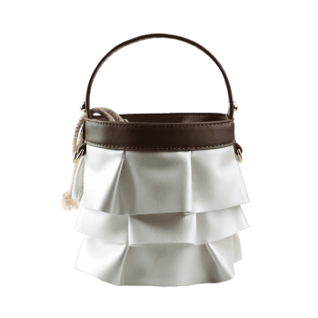 PU Leather Ruffles Mini Handbag -  BROWN