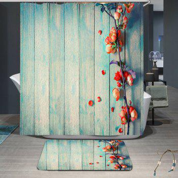 Vintage Floral Wood Grain Waterproof Shower Curtain - LIGHT BLUE W79 INCH * L79 INCH