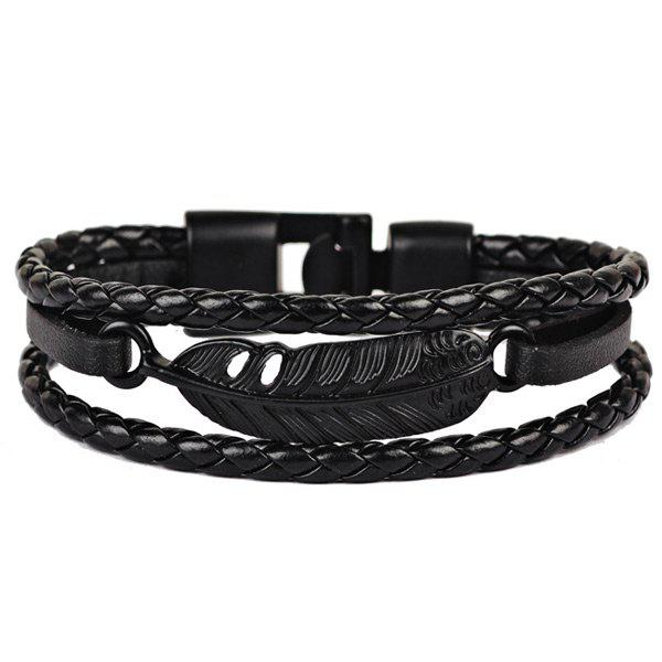 Artificial Leather Feather Braid Rope Bracelet - BLACK