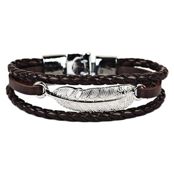 Artificial Leather Feather Braid Rope Bracelet artificial leather rope round collarbone necklace