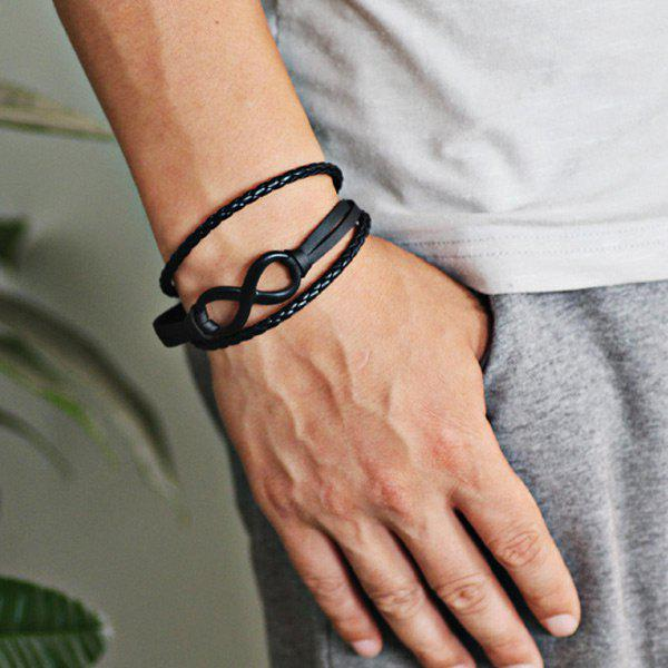 Faux Leather Infinite Braid Rope Bracelet - BLACK