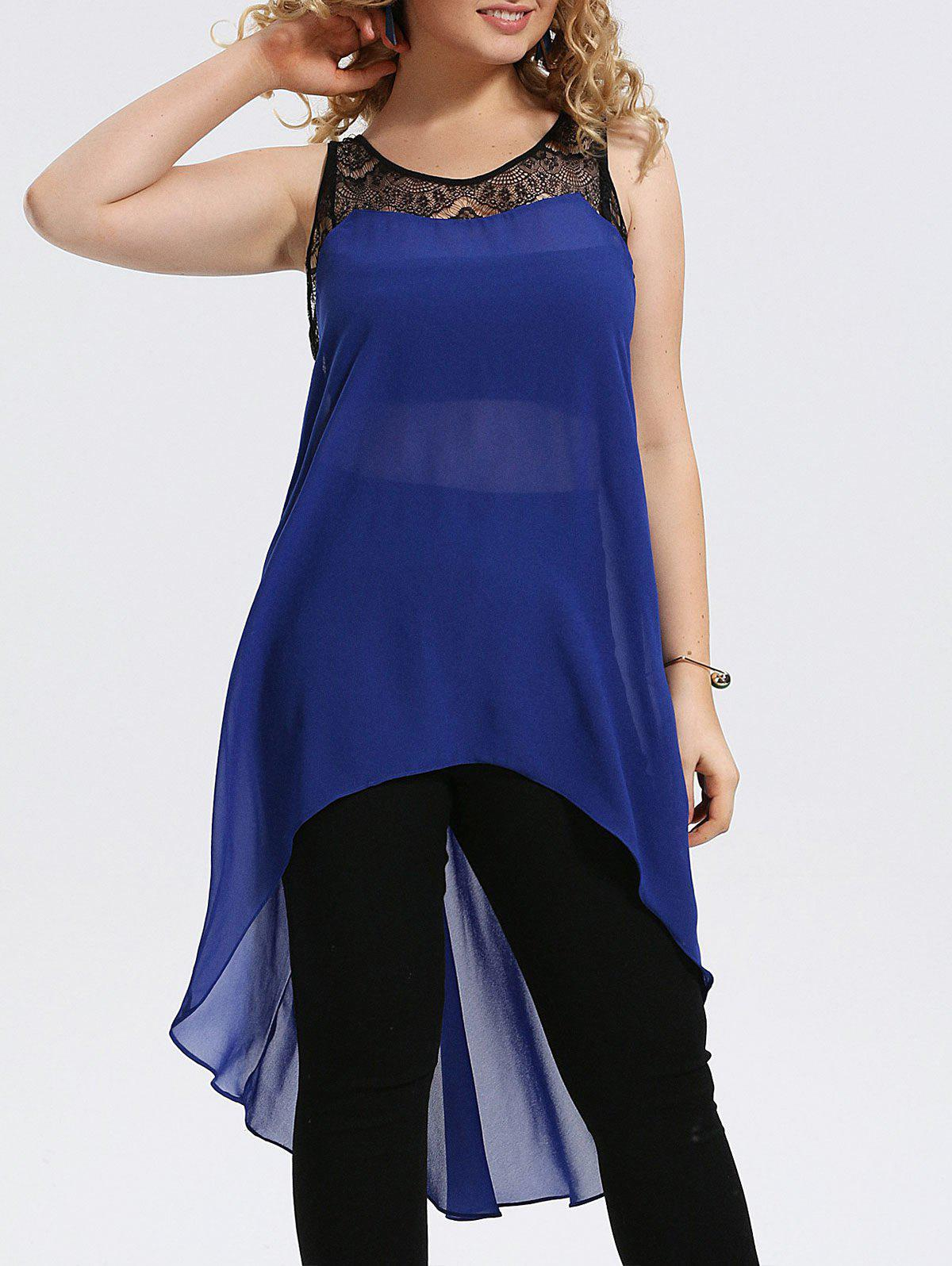 цена на Plus Size Lace Trim Chiffon High Low Tank Top