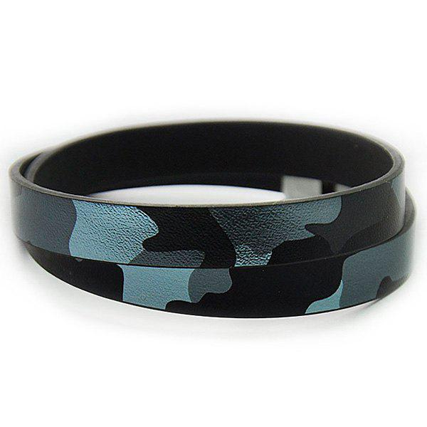 Camouflage Infinity Faux Leather Bracelet - BLUE