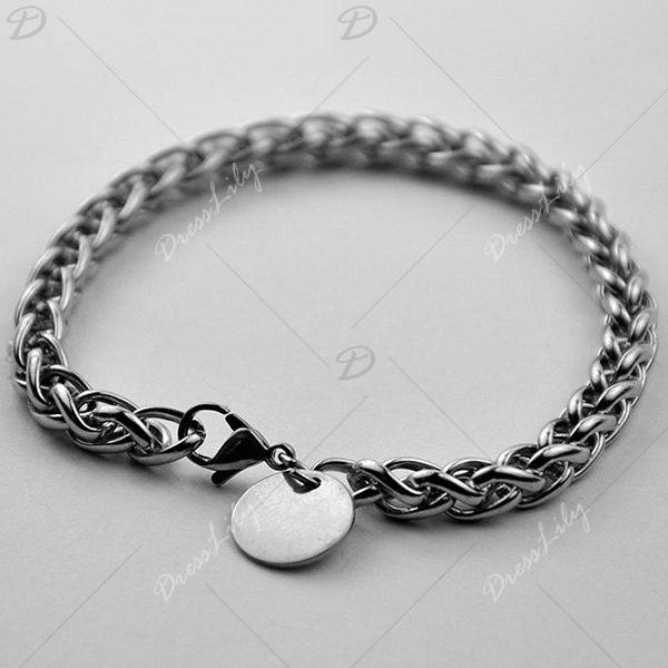 Round Link Stainless Steel Bracelet - SILVER