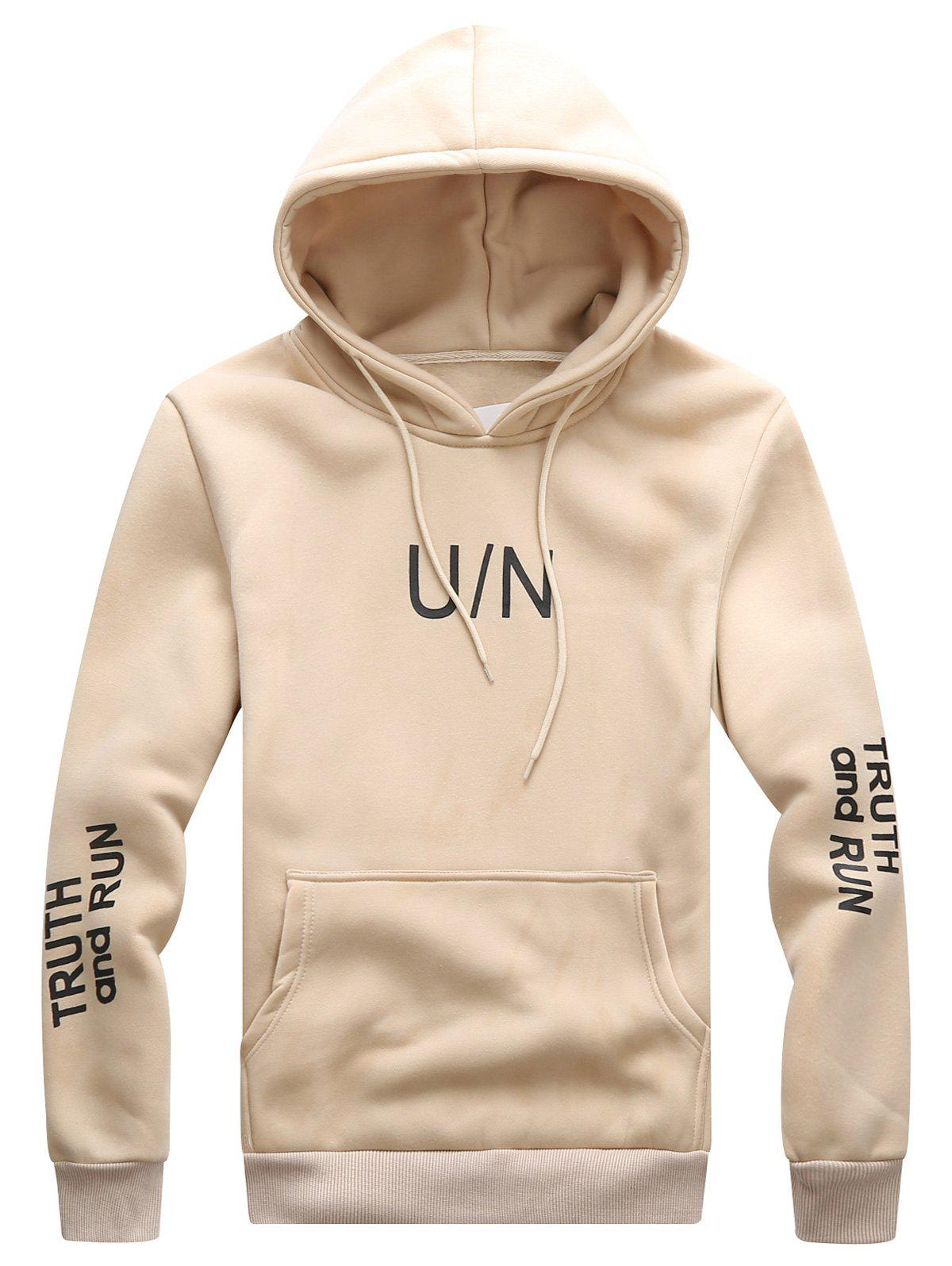 Image of Hooded Drawstring Graphic Print Hoodie