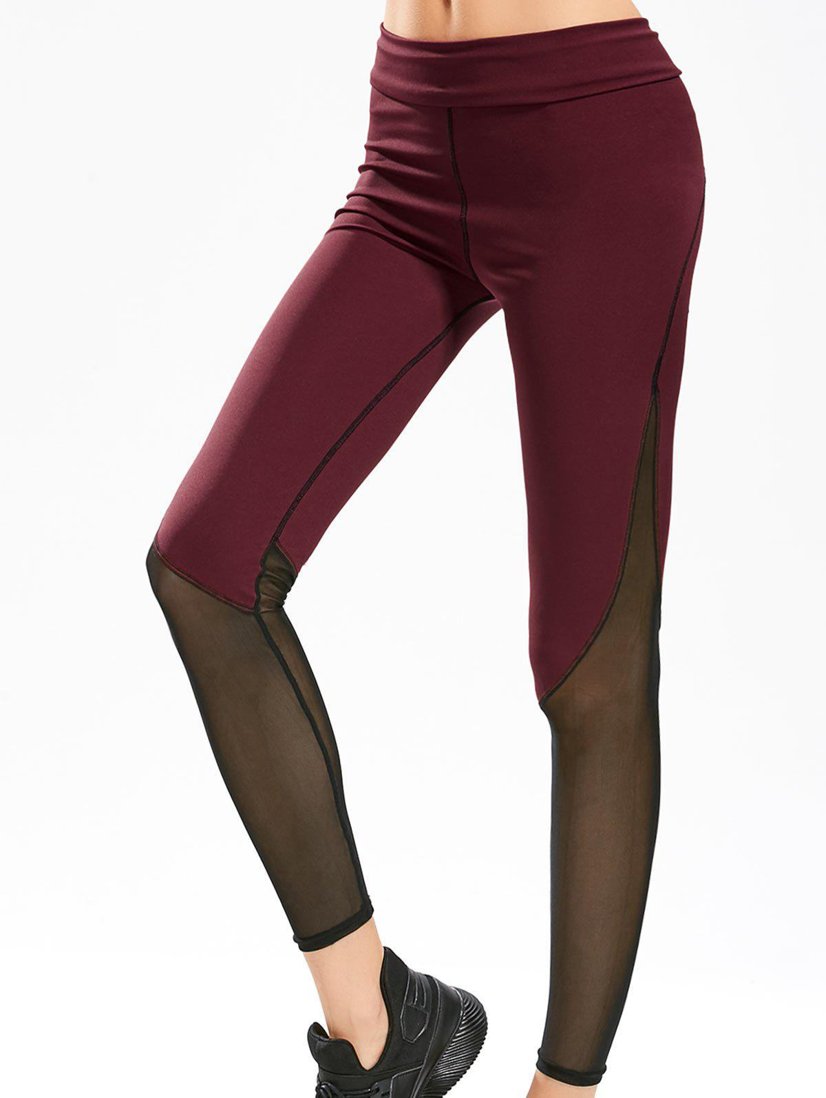 Sheer Mesh Panel Gym Leggings - WINE RED M