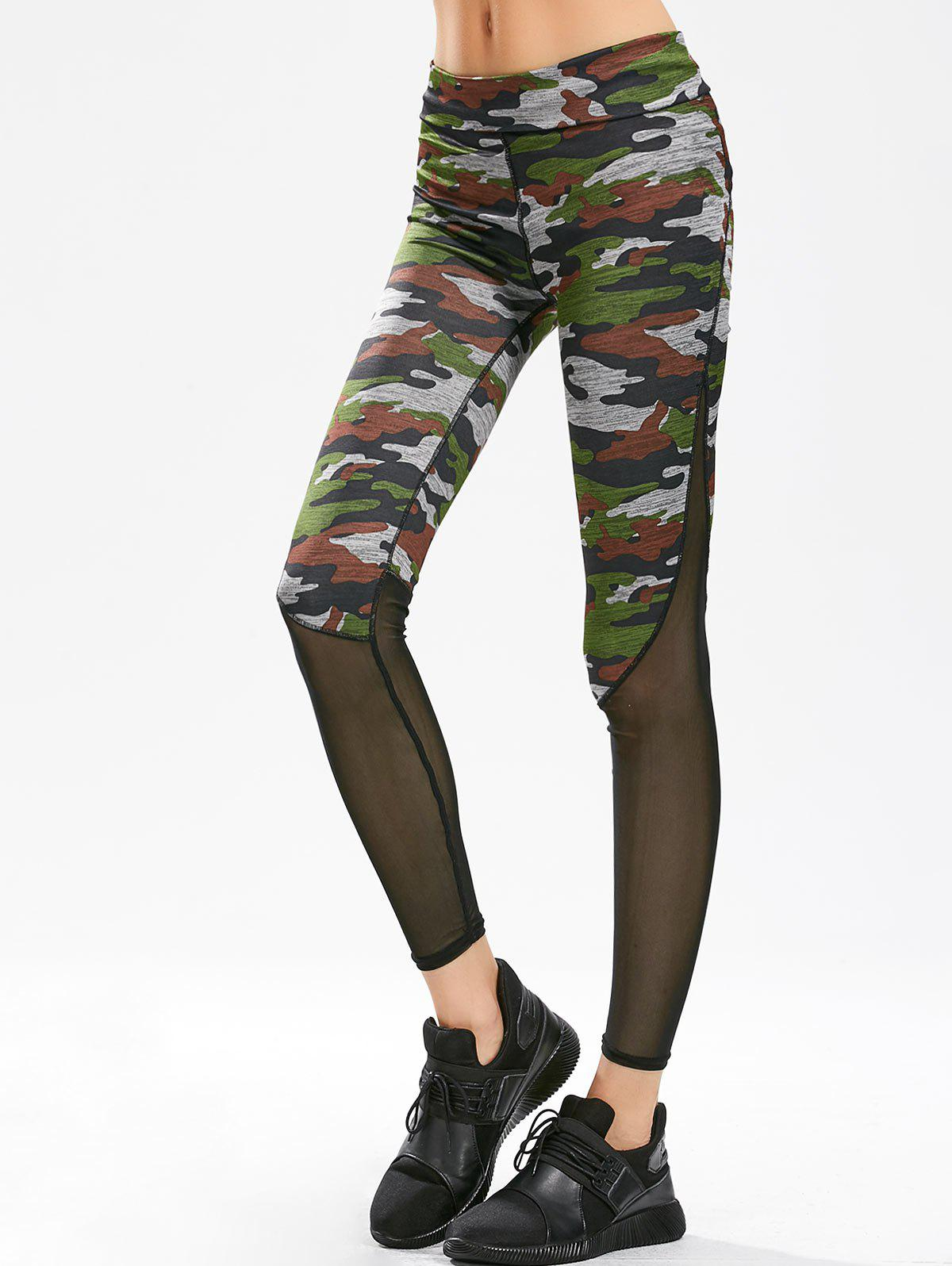 Sheer Mesh Panel Gym Leggings - CAMOUFLAGE M