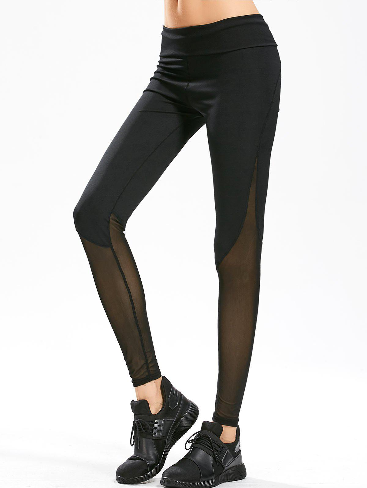 Sheer Mesh Panel Gym Leggings - BLACK L