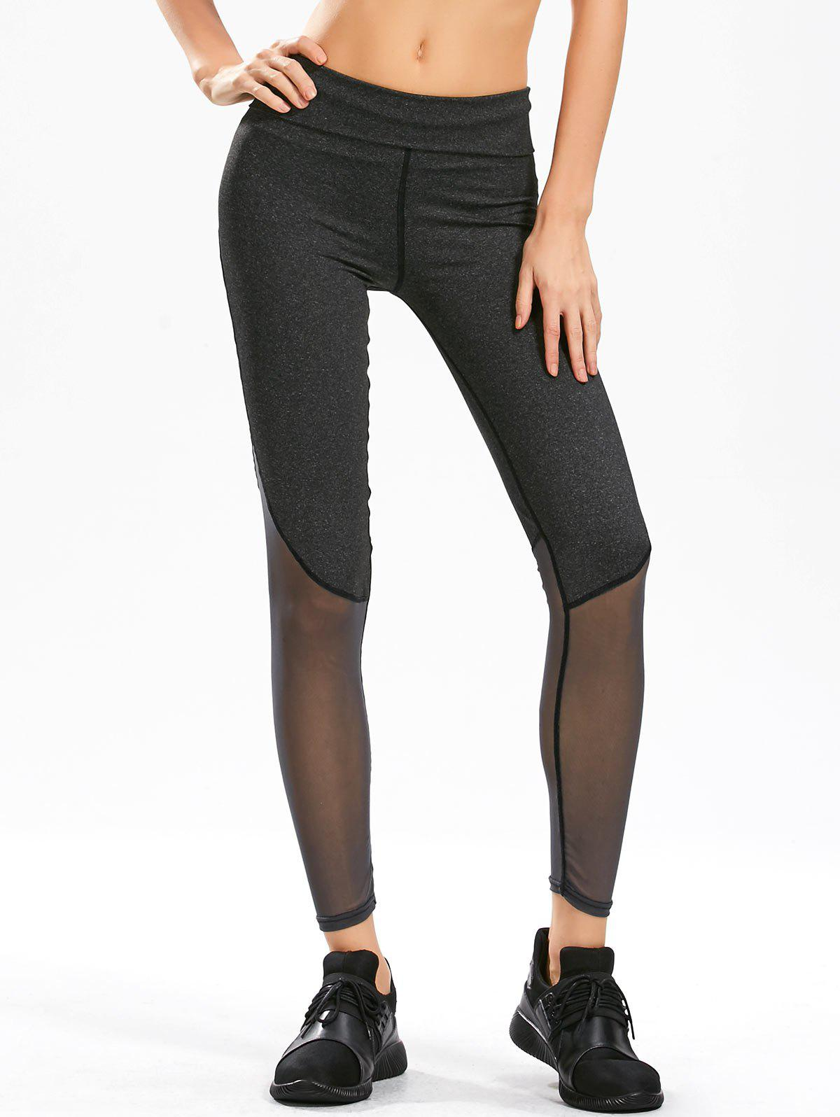 Sheer Mesh Panel Gym Leggings - BLACK GREY M