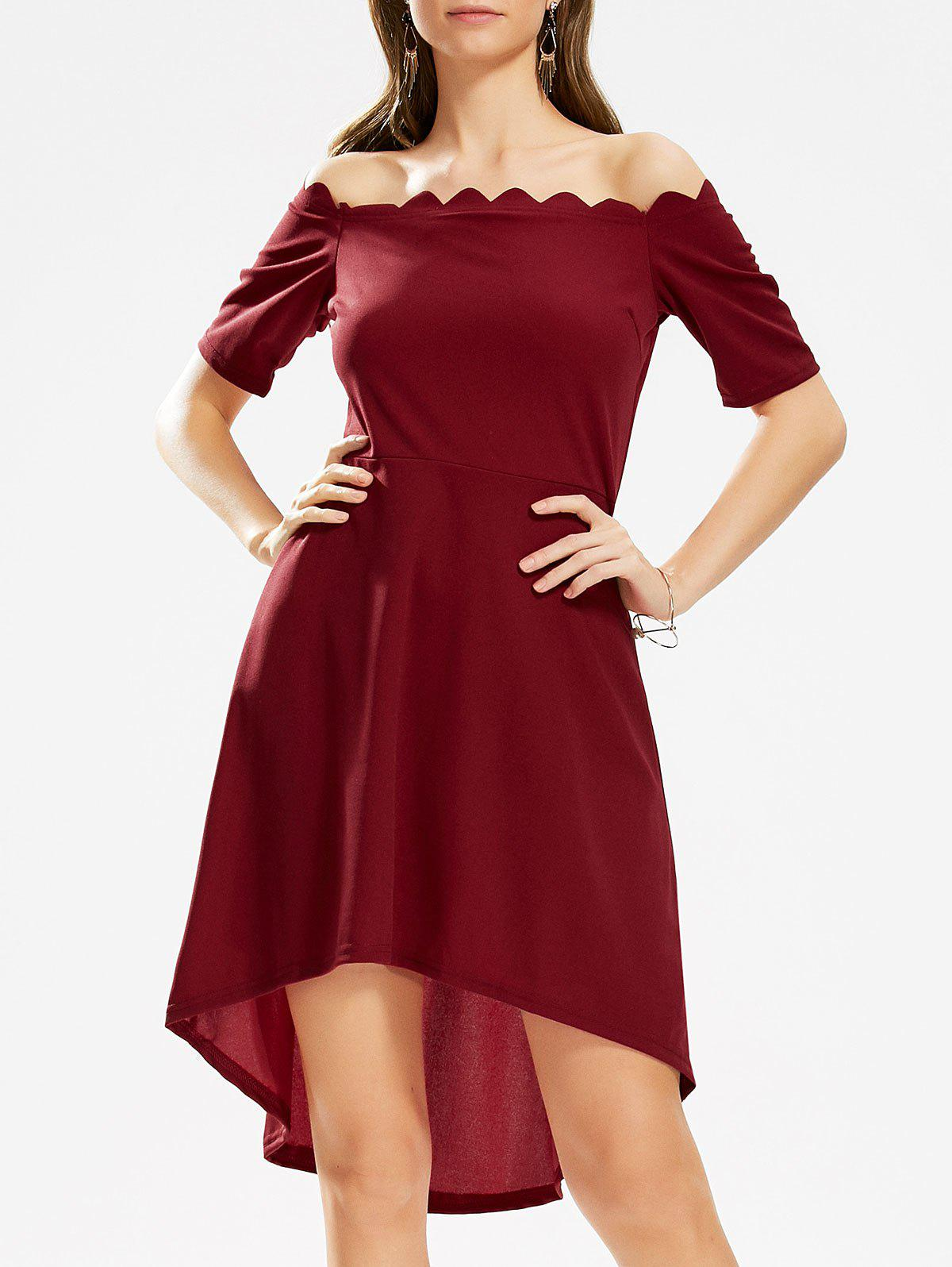 Off The Shoulder High Low Scalloped Dress - Rouge vineux M