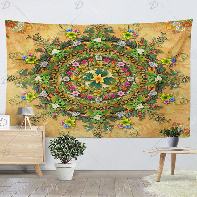 Decorative Wall Hanging Floral Print Tapestry - YELLOW W59 INCH * L59 INCH