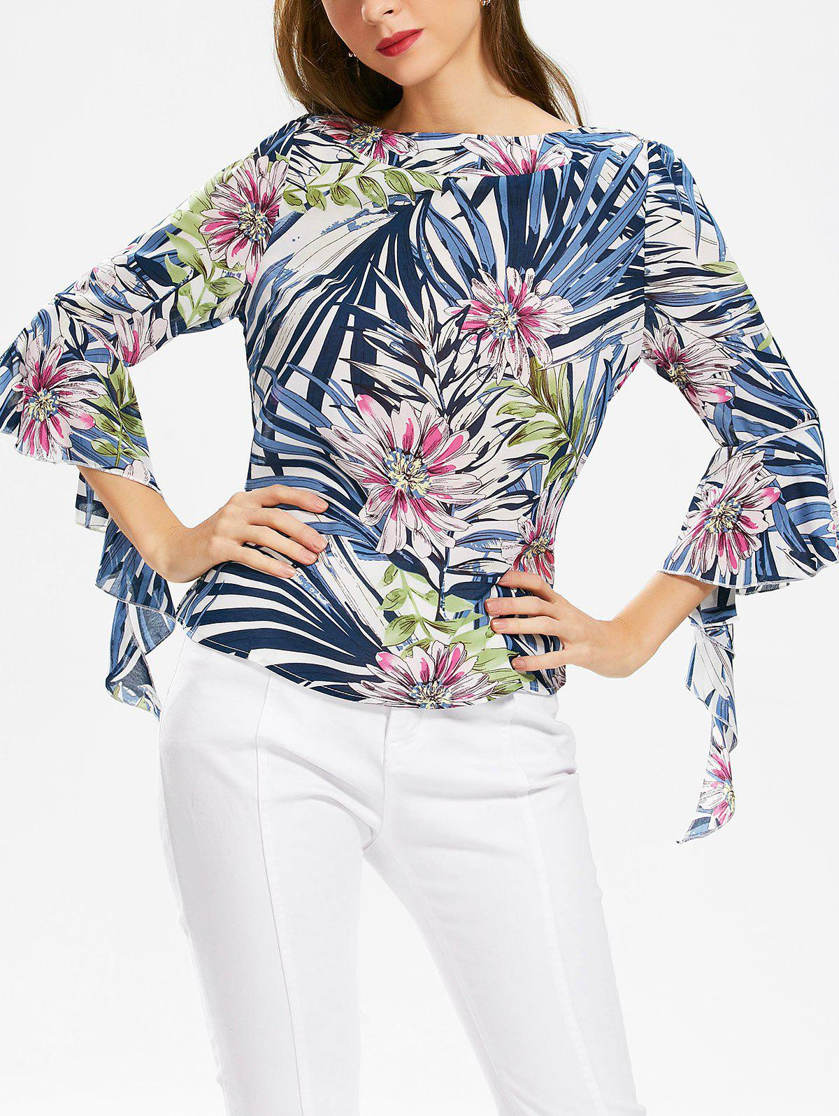 Plant Print Chiffon Slash Neck Top - Bleu L