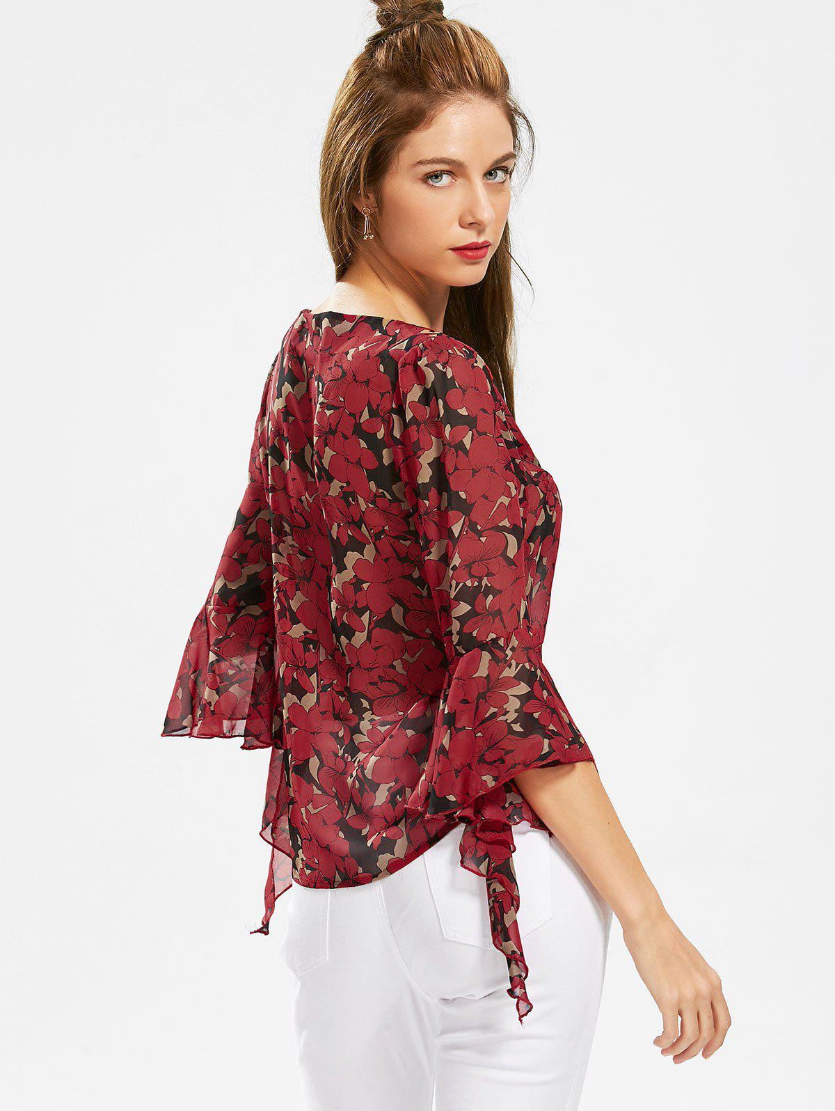 Plant Print Chiffon Slash Neck Top - Rouge M