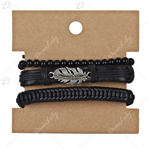 Ensemble de bracelets en perles en cuir Faux Leather Feather - Noir