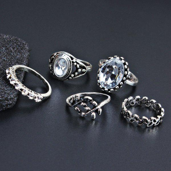 Faux Gem Vintage Oval Finger Ring Set