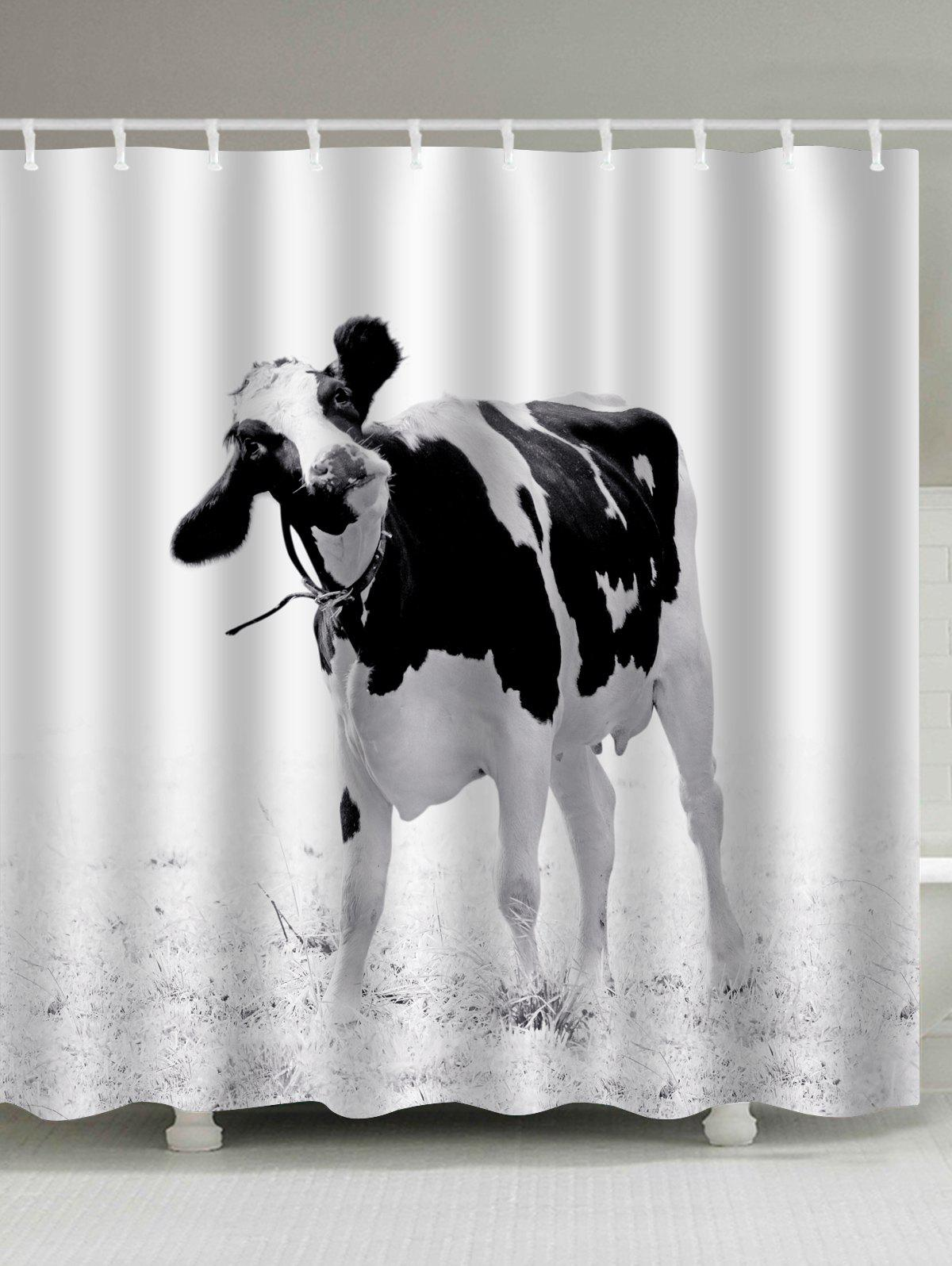 Water Resistant Milk Cow Print Shower Curtain