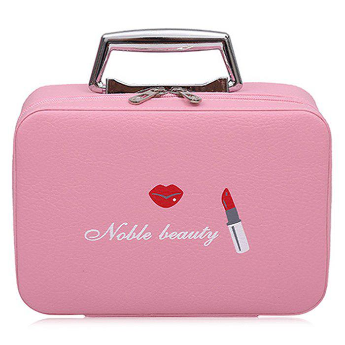 Top Handle PU Leather Makeup Box - PINK