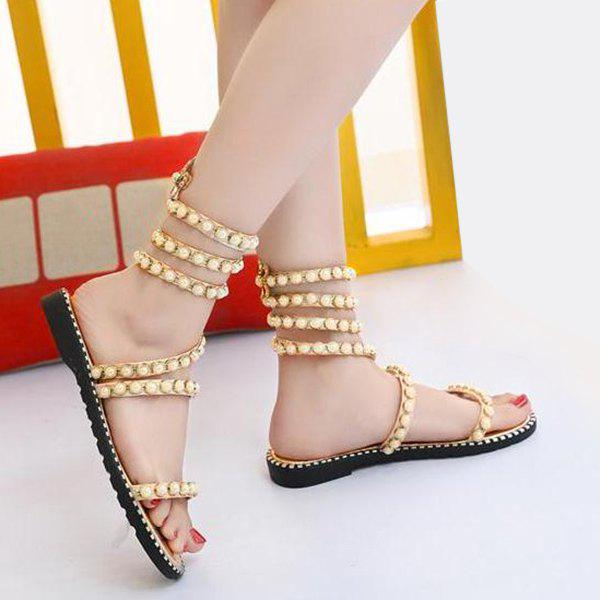 Sandales Strappy Sandales Talons Strass - Or 39