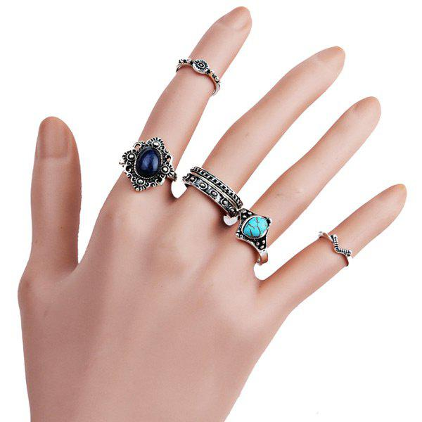 Faux Turquoise Gemstone Oval Finger Ring Set - Argent