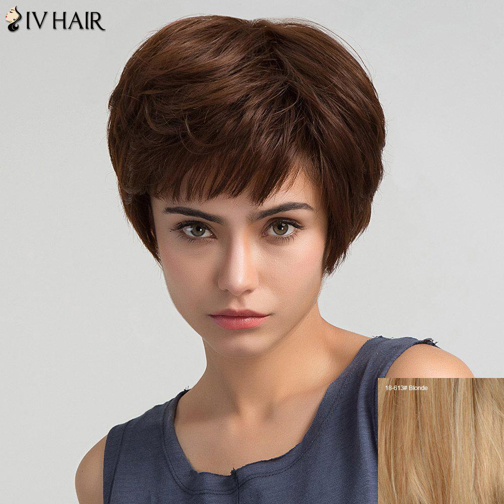 Oblique Bang Short Straight Human Hair Wig - BLONDE
