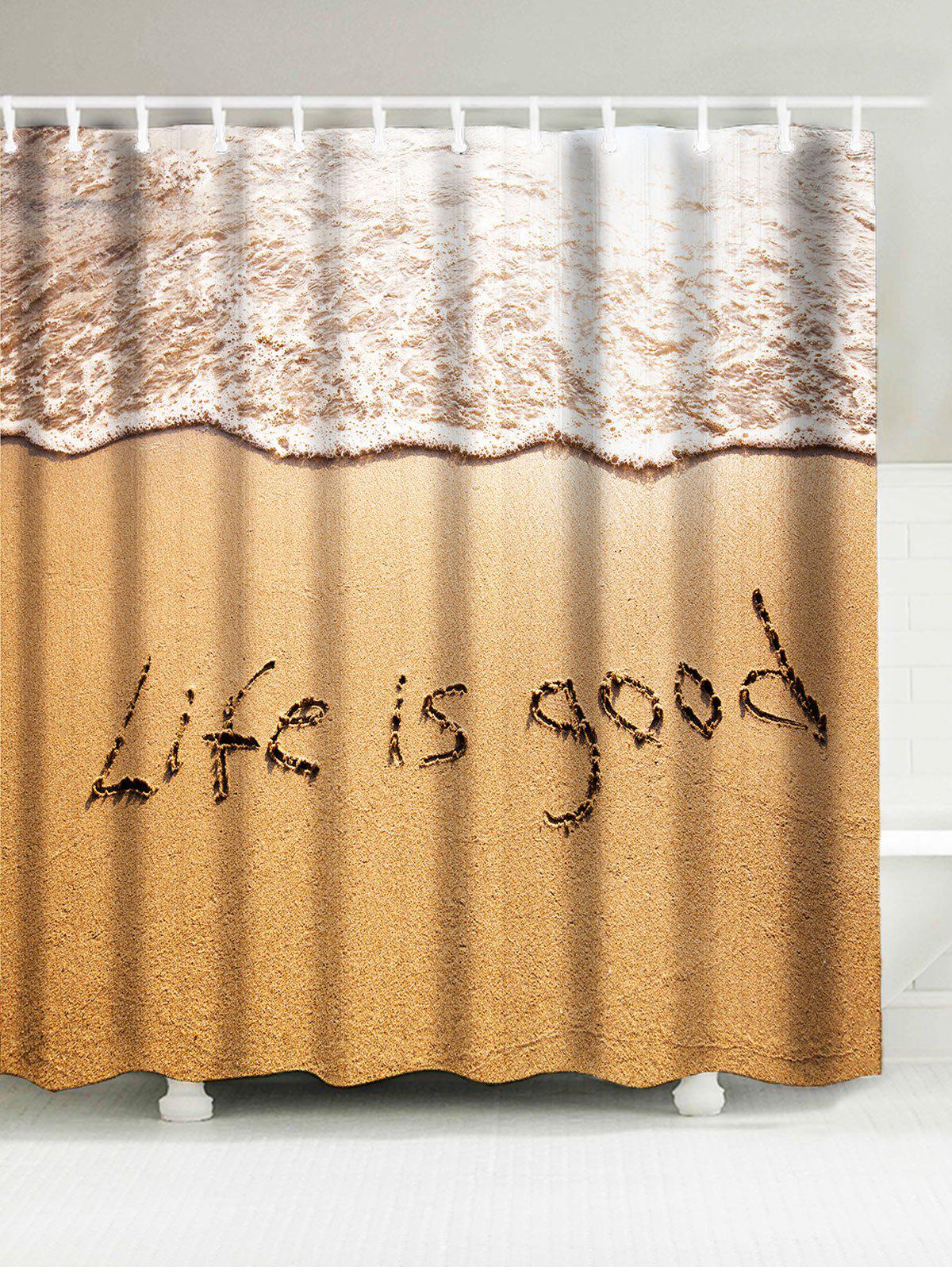 Beach Style Words Print Waterproof Shower Curtain Sand Yellow W Inch L Inch In Shower Curtains